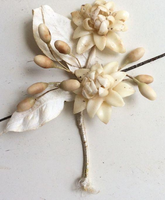 tocados florales de pasta vintage